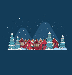 Cartoon snow home and rural cottages set vector