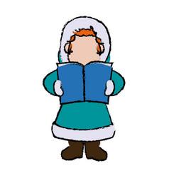 Cartoon woman christmas song winter clothes vector