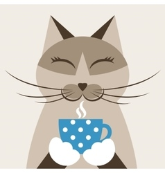 Cat with cup of tea vector