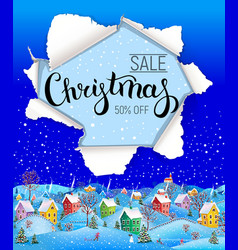 christmas sale design with winter landscape vector image