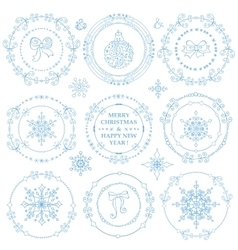 ChristmasNew year decor setWinter frames vector