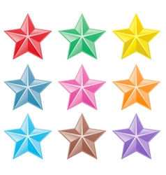 collection colorful stars vector image