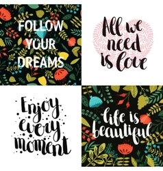collection inspirational cards vector image