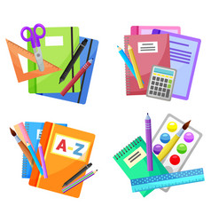 Colorful school supplies isolated on white vector