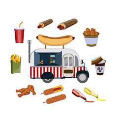 Concept on street food hot-dogs set with car and vector