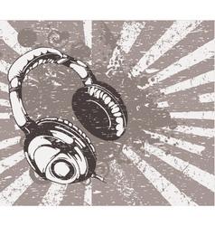 Concert wallpaper with headphones vector