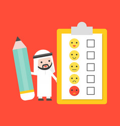 Cute arab businessman holding giant pencil with vector