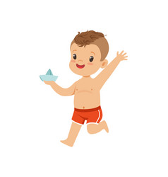 Cute little boy holding paper boat kid playing at vector
