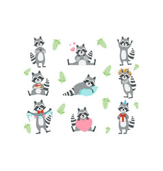 Cute raccoon character in different situations set vector