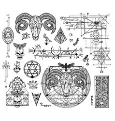 Design set with mystic graphic drawings vector