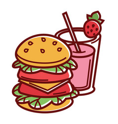 Double burger and strawberry milk shake in glass vector