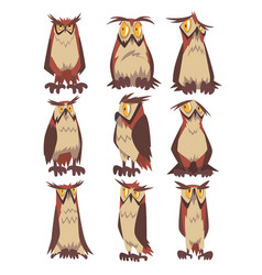 eagle owls birds set funny great horned owls vector image