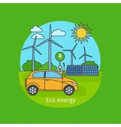 Eco energy concept with car vector