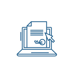Electronic signature contract line icon vector