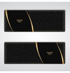 Elegant black leather horizontal banner with two vector