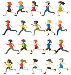 Faceless people running vector