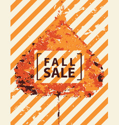 Fall sale banner with bright autumn poplar leaf vector