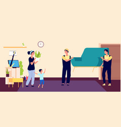 family moves new apartment young mother moves vector image