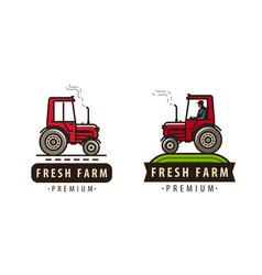 Farm tractor logo farming agriculture food vector