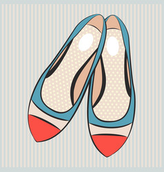 Fashion cute womens flat shoes vector