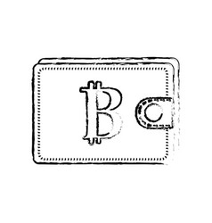 figure bitcoin symbon in the wallet to save money vector image