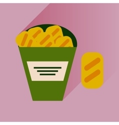 Flat icon with long shadow snack crackers vector