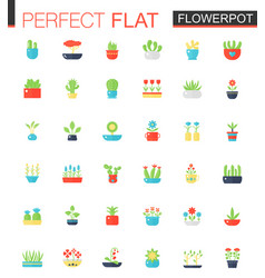 Flat icons set of house plants and flowers vector
