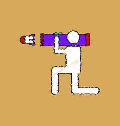 Flat shading style icon anti tank rocket launcher vector