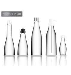 Glass bottle set background vector