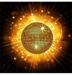 gold disco ball starburst vector image