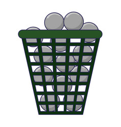 Golf balls in basket vector