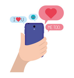 Hand chatting with smartphone sending emojis vector