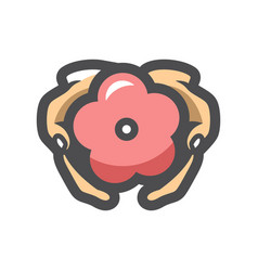 hands care flower icon cartoon vector image