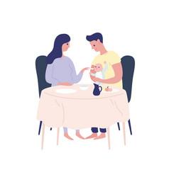 happy cartoon parents feeding newborn ba vector image