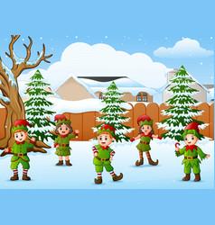 happy kid wearing elf costu vector image