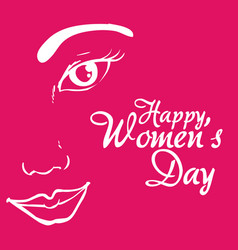 happy womens day girl face promotional vector image