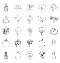 Harvest plants icons set outline style vector