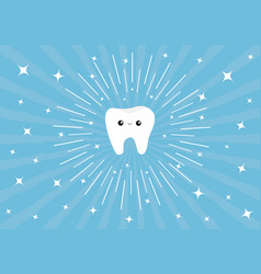 Healthy white tooth icon cute cartoon character vector