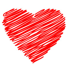 heart red hand drawn sketch vector image