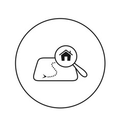 house on map under a magnifying glass vector image