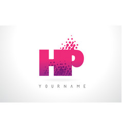 hp h p letter logo with pink purple color and vector image