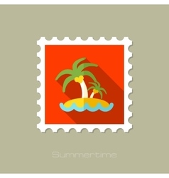 Island with palm trees flat stamp long shadow vector