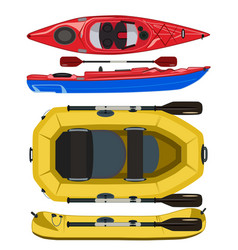 Kayak and rafting inflatable rubber boat vector