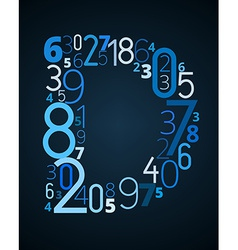 Letter D font from numbers vector image