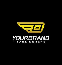 letter d wings logo initial letter design luxury vector image