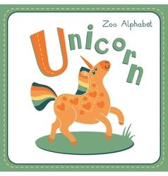 Letter U - Unicorn vector image