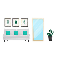 Living room furnishing elements with soft sofa and vector