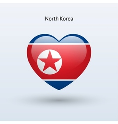 Love North Korea symbol Heart flag icon vector