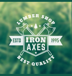 Lumber shop vintage logo emblem with axes vector