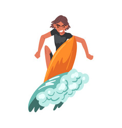 Male surfer riding on ocean wave extreme hobor vector